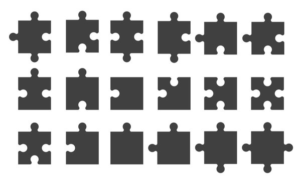 Set black puzzle pieces isolated