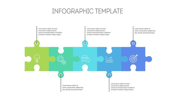 Horizontal chart with 5 connected jigsaw puzzle pieces. Linear infographic design template.