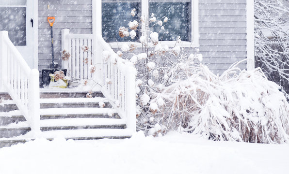 Porch of a house and plants around during a snowfall. Bad weather, snow storm. USA. Maine