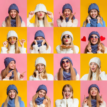 Collage of young winter woman expressions and emotions