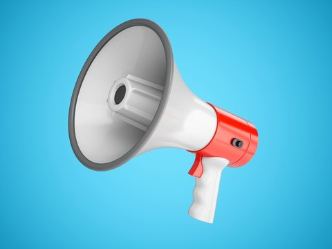 3D Rendering Megaphone isolated on blue background