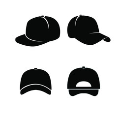 set of Baseball hat black logo icon design vector illustration