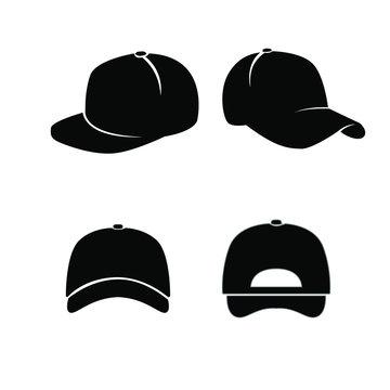set of Baseball hat black logo icon design vector illustration