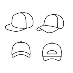 set of Baseball hat line logo icon design vector illustration