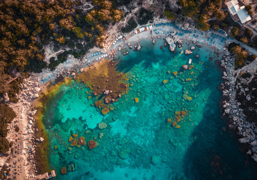 Anthony Quinn Bay. The most beautiful beach at Rhodes island. bird's eye view from above, rocks, clear sea, beach and Bay with people.
