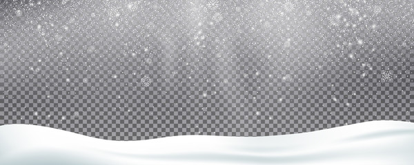 Fotomurales - Snow background overlay. Realistic snow. Winter Christmas and New Year snow decoration