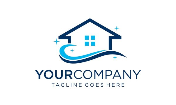 Creative home cleaning logo designs concept