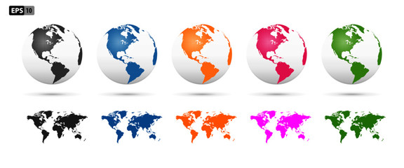 Fototapeta World earth globes, vector icons set. Earth planet continents map. Travel, ecology and geography world globe symbols obraz