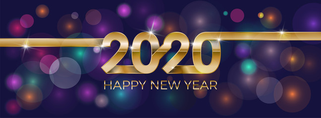 2020 Happy New Year. Banner invitation, party poster glittering stars confetti glitter decoration. Winter holiday greeting card design template with gold text Happy New Year 2020. Vector Illustration.