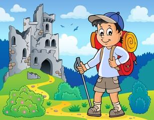 Poster Voor kinderen Image with hiker boy topic 3