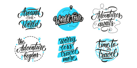 Travel, adventure, vacations lettering set. Handwritten phrases, slogans or quotes. Calligraphic elements for your design. Vector illustration.