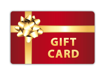 Red gift card with golden bow and ribbon. Merry christmas or happy anniversary present.