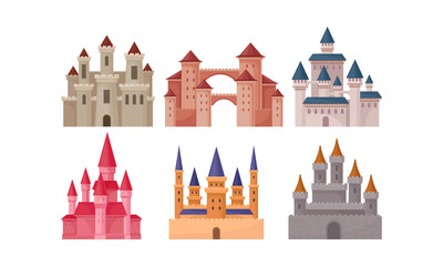 Castles and Fortresses Vector Set. Medieval Buildings Collection
