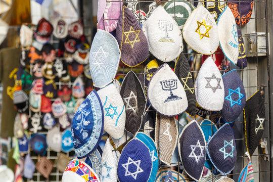 Valiety of kippa's sold in kippa shop inJerusalem, Israel.