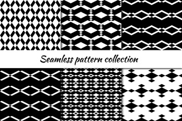 Seamless pattern collection. Geometrical design backgrounds set. Repeated rhombuses, diamonds, lozenges motif. Geo print