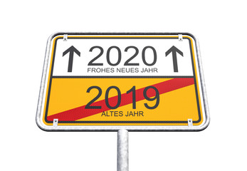 3d Illustration - Ortsschild - Ortstafel - 2019 - 2020 - Freisteller - Freigestellt