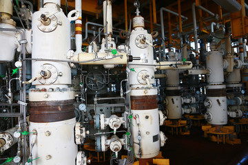 Valves manual in the process,Production process used manual valve to control the system,dirty or old manual valve,valve in oil and gas process and operated by operator,equipment in production process.