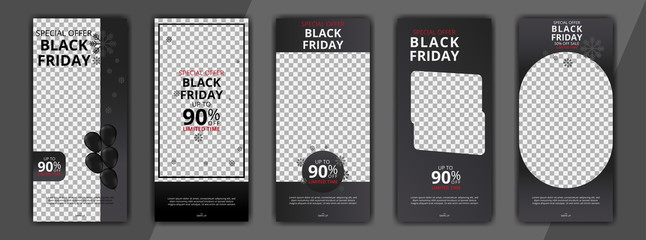 black friday editable social media post discount sale templates bundle set for digital marketing. banners social media post. stories social media post. stories banners sale bundle set.
