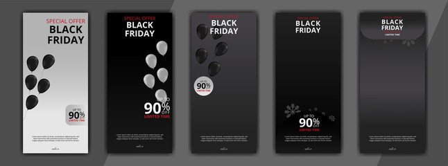 black friday editable social media post discount sale templates bundle set for digital marketing. banners social media post. stories social media post. stories banners sale bundle set.