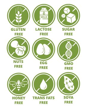 Collection of ingredient warning label icons. Set of allergen free green round emblems without gluten, lactose, sugar, nuts, eggs, gmo, honey, trans fats, soya flat style. Diet, organic concept