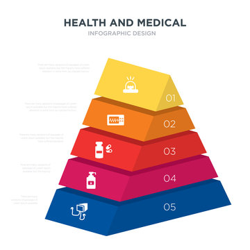 health and medical concept 3d pyramid chart infographics design included defibrillator, desinfectant, drugs, electrocardiogram, emergency, _icon6_, _icon7_, _icon8_ icons