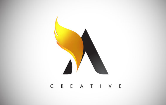 Gold A Letter Wings Logo Design with Golden Bird Fly Wing Icon.