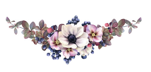 Picturesque moody floral arrangement of the pink hellebores, anemones, barberry branches, berries hand drawn in watercolor isolated on white background. Watercolor illustration. Floral composition
