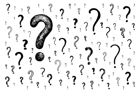 Hand draw question marks sign kit. Doodle illustration. Basis scribble graphics black and white