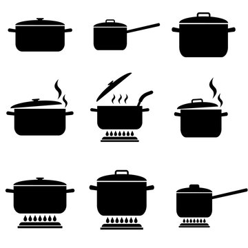 Pan set icon, logo isolated on white background. Cooking in a saucepan, boiling on a Gas burner
