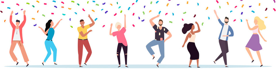Group of young happy dancers or men and women isolated on a white background. Smiling young men and women enjoy a dance party. Colorful vector illustration in flat cartoon style.