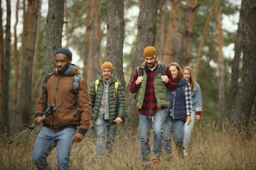 Group of friends on a camping or hiking trip in autumn day. Men and women with touristic backpacks going throught the forest, talking, laughting. Leisure activity, friendship, weekend. Fotobehang