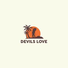 Devil in love logo design template