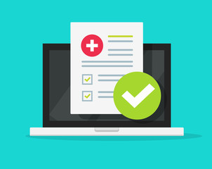 Fototapeta Medical form check list with results data and approved check mark online on laptop screen vector icon, flat cartoon computer and clinical checklist document report and checkbox, tele medicine service