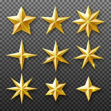 Gold star set isolated on transparent background. Vector realistic decoration