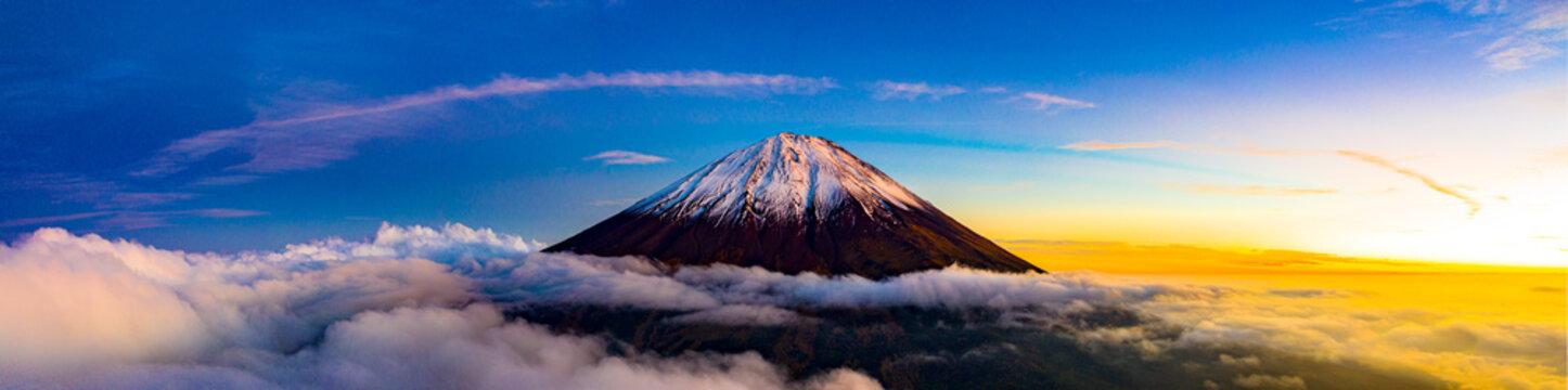 Beautiful scenic landscape of mountain Fuji or Fujisan in Yamanashi Prefecture, Japan