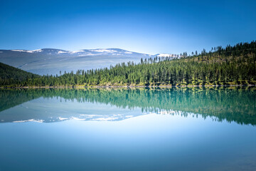 Perfect natural reflection in deep blue lake Norway
