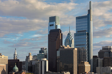 Philadelphia, Pennsylvania Cityscape with Skyscrapers and Cloudy Blue Sky