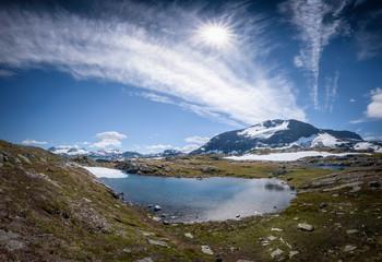 Mountain lake panorama near toristic road Sognefjellet Norway