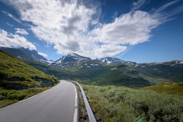 Norwegian Scenic Route Sognefjellet with clear skies Norway
