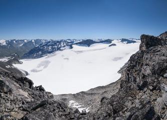 Jotunheimen mountain range panorama from top Galdhopiggen Norway