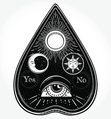 Bohemian hand drawn ouija that consists of pictures of the sun, moon, rays and Eye of Providence. Magi,Esoteric,spiritual,religion,,alchemy,occultism, tattoo art. Vector illustration. Vector Isolated.