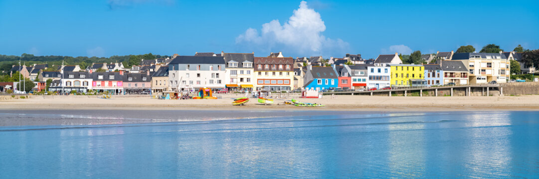 Morgat in Brittany, panorama of the beach in summer