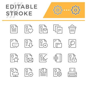 Set editable stroke line icons of document