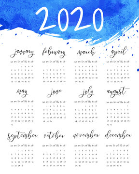 Hand written ink calendar template, 2020 year. Watercolor painted header with brush strokes, stains, splash blue background. Week starts Sunday. Blank sheets paper, binder concept. Fluid art.