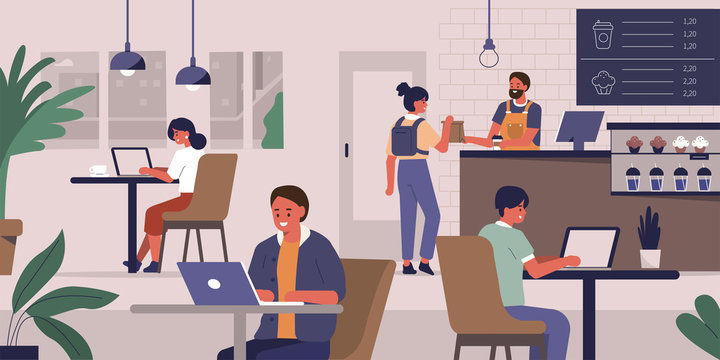 Young People Characters Dinning and Working in modern Coffehouse. Woman and Man Working and Drinking Coffee. Coworking Loft Office with Cafe. Freelancers at Work. Flat Cartoon Vector Illustration.