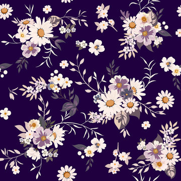 Floral fashion print design with daisies for spring, summer woman dress