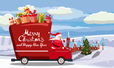 Merry Chrismas Santa Claus Van delivering gifts background winter town village