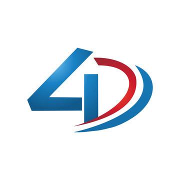 4D logo design concept vector.