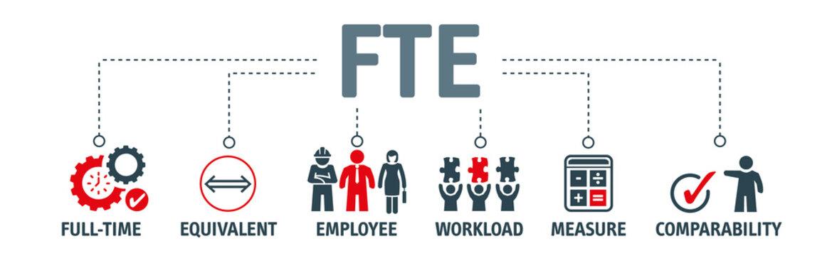 Banner Full time equivalent - FTE - vector illustration