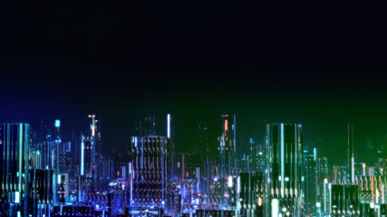 Wall Mural - 3D Rendering of digital city at night with various color led glowing lights. Concept of big data, machine learning, business artificial intelligence, hyper loop, virtual reality, panorama view